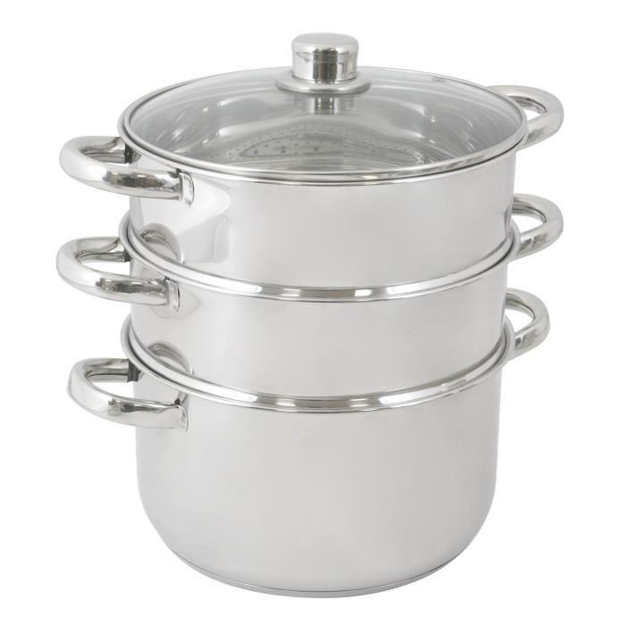 crealys cuit vapeur inox 3 niveaux achat vente faitout marmite cuit vapeur inox 3 niveaux