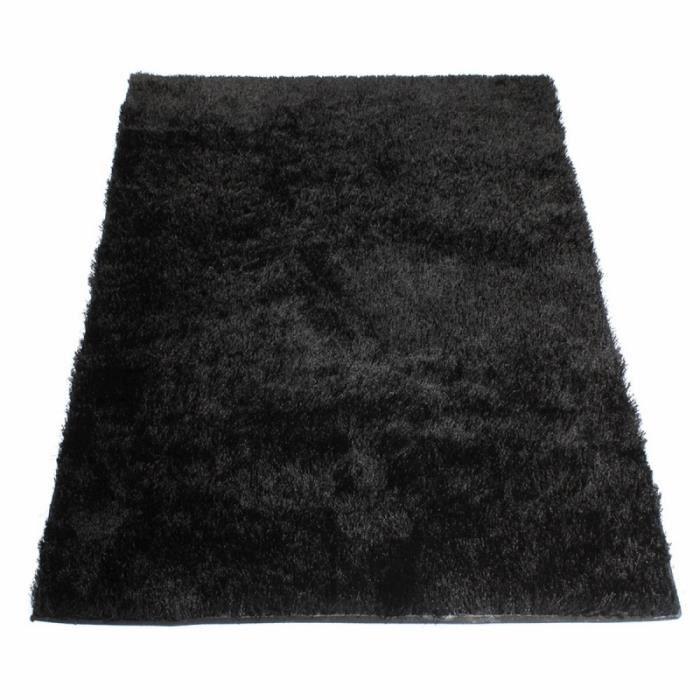 tapis shaggy noir 60 x 120 cm - Tapis Noir