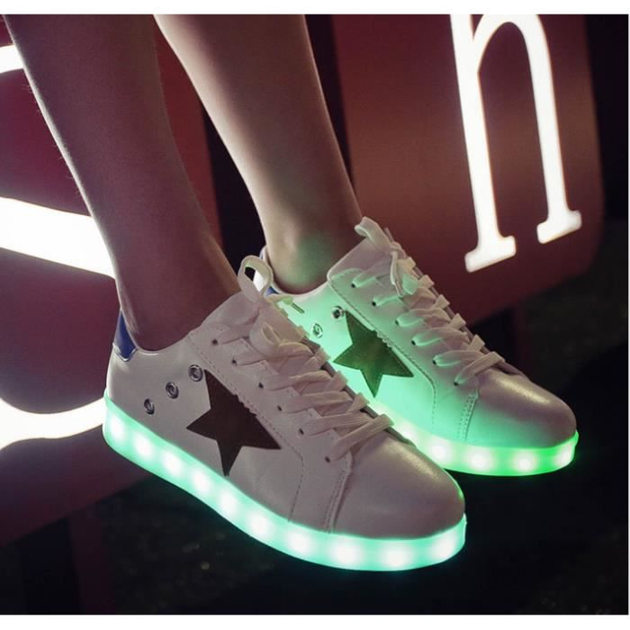 7 Couleur rechargeables Chaussures Sport LED clignotantes Sneakers nZf5rvbv