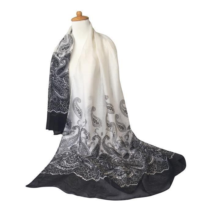 foulard en soie noir femme achat vente pas cher. Black Bedroom Furniture Sets. Home Design Ideas