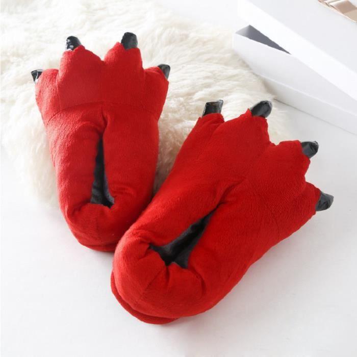 Hiver Chaud Doux Monstre Griffe Pantoufles plancher intérieur Pantoufles Femmes Hommes Enfants Animal Pantoufles
