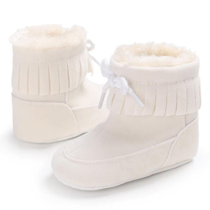 Bottes de neige de bébé Soft Sole Bottes de berceaux souples Bottes de tout-petit blanc