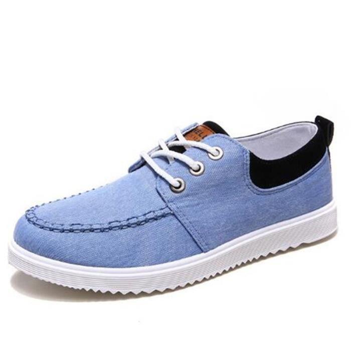 Chaussures En Toile Hommes Basses Quatre Saisons Populaire BBDG-XZ115Bleu39