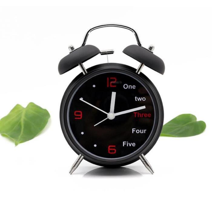 4 Pouce Anglais Motif Reveil Paresseux Mode Lumiere De Nuit Horloge