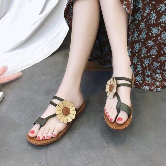 Ljj80314875gn Plat Sandales Pantoufle Femmes Dérapage Fleur Chaussures Talon Anti Plage Vert Mode Im7b6gvfYy