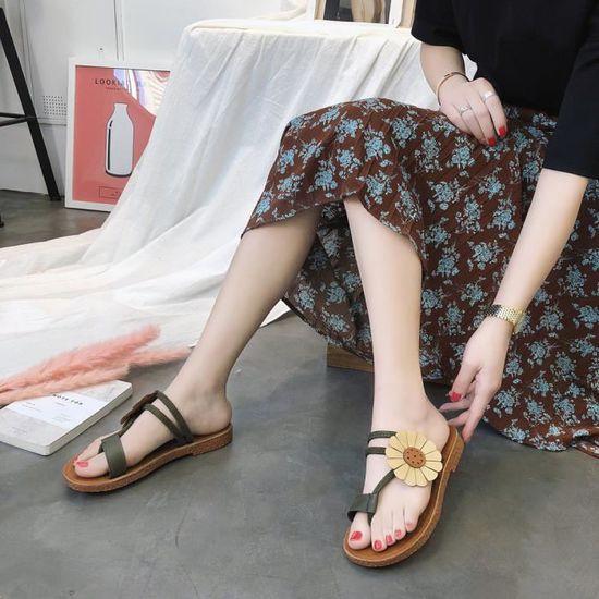 Anti Mode Plat Femmes Dérapage Vert Fleur Plage Pantoufle Chaussures Ljj80314875gn Talon Sandales YbymIgf76v