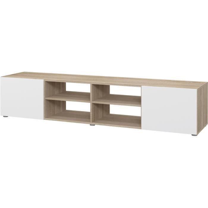 PILVI Meuble TV - Blanc et chêne sonoma - L 185 x P 42 x H 31 cm