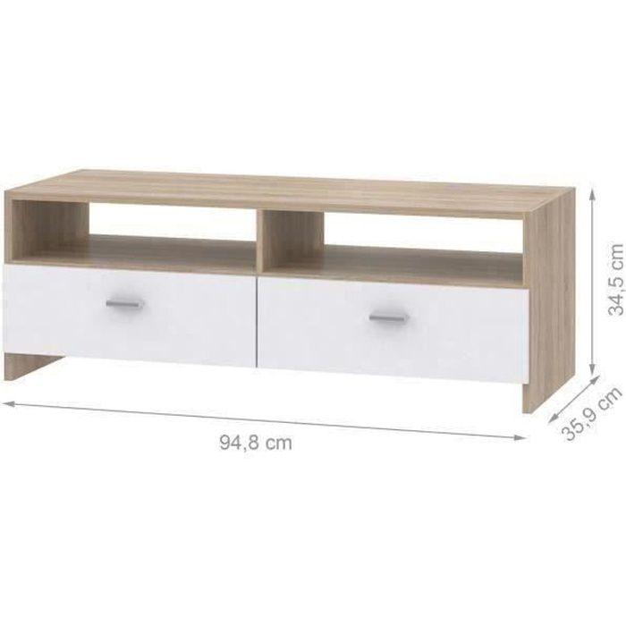 Panneaux de particules blanc et décor chêne - L 95 x P 34,6 x H 35,8 cm - 2 abattants - 2 nichesMEUBLE TV - MEUBLE HI-FI