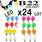 Lot De 24 Ampoules Led B22 1w Guirlande Rouge Jaune Verte Orange