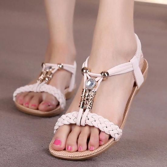 Femmes Plates Pantoufle Bk36nbsp;beige D'été Chaussures Perlé Sandales Bohème Plage ukZXiP