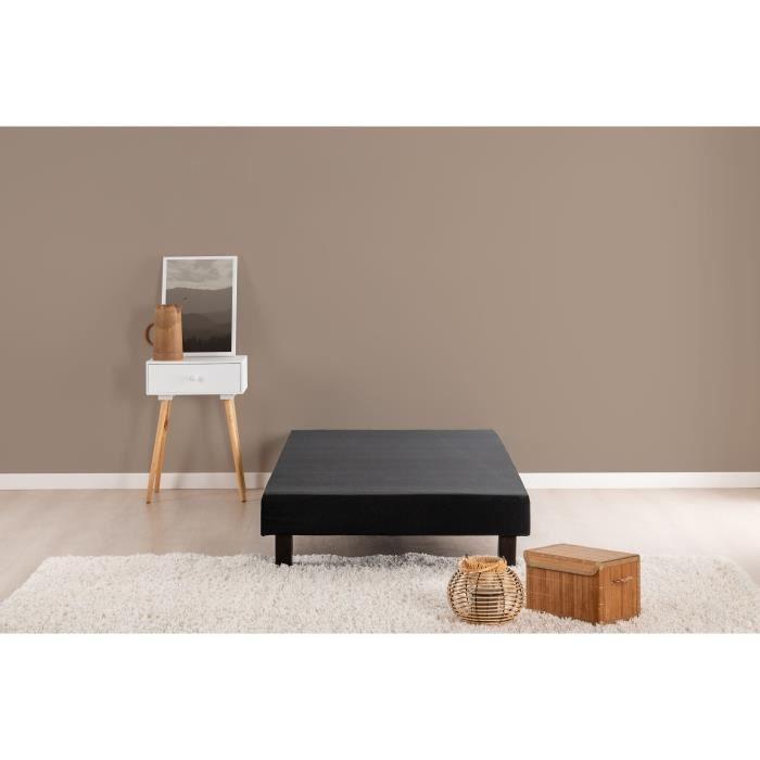 Sommier tapissier à lattes 90 x 200 - Bois massif noir + pieds - FINLANDEK Rakenne