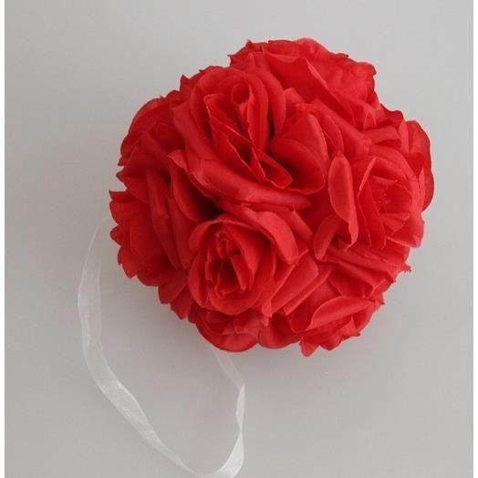 Rouge 15cm Bouquet De Rose Boule De Mariage Simulation Fleurs