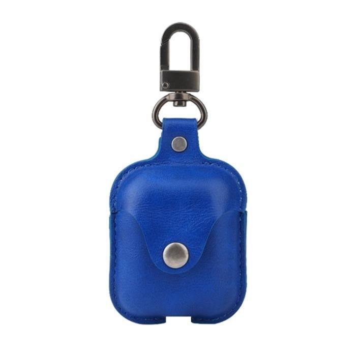 Étui De Protection En Cuir Pu Bleu Pour Apple Airpods True Écouteurs Bluetooth Sans Fil Recharge