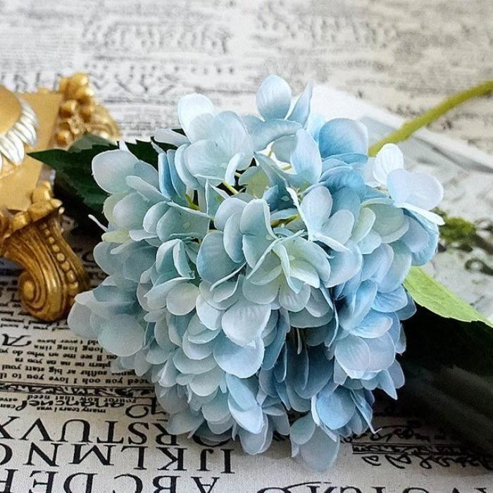 Version Bleu , Fleurs Artificielles Pas Cher Soie Hortensia
