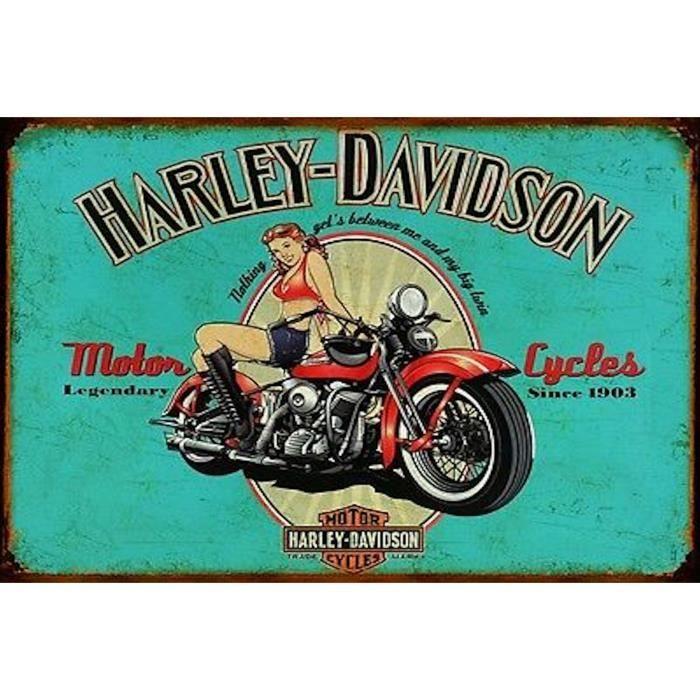 plaque m tal vintage harley davidson 1 achat vente objet d coration murale soldes d s le. Black Bedroom Furniture Sets. Home Design Ideas