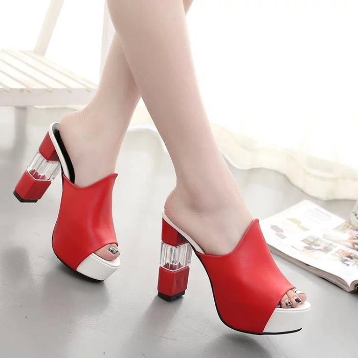 Eté Femmes Mules Sandales Talon Haut Plateforme Peep Toes Talon Cristal Chaussures Chunky noir TAILLE 39 8cAZn6NP8