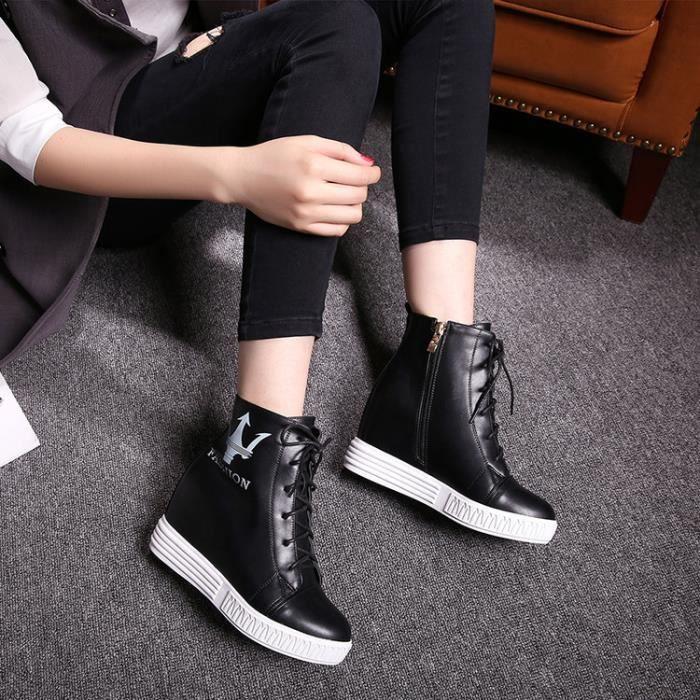 baskets-Pure Color talon plat pour femme Inside Heighten Lacet Sneakers 8O6bvhhI