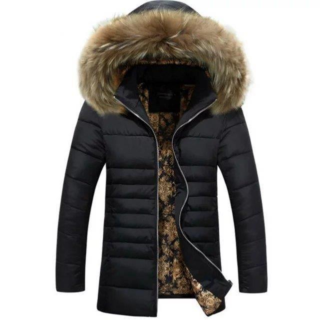 mode faux raccoon col de fourrure manteau homme noir. Black Bedroom Furniture Sets. Home Design Ideas