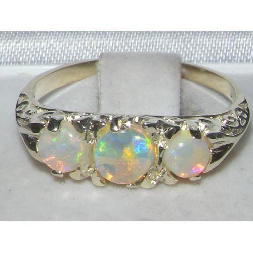 Bague pour Femme en Or blanc 9 carats 375-1000 sertie d Opale- Tailles 50 à 64