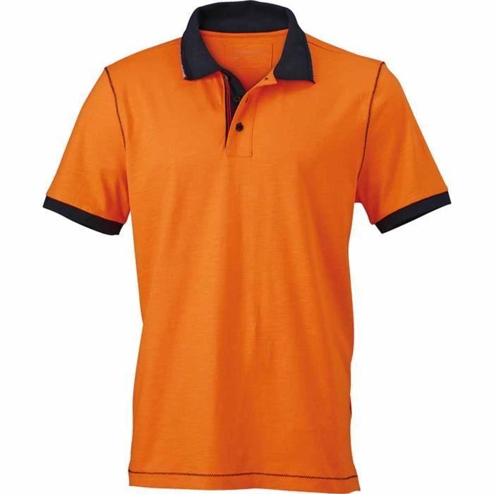 8d695c75ebebb Polo col contrasté HOMME JN980 - orange - manches courtes Orange ...