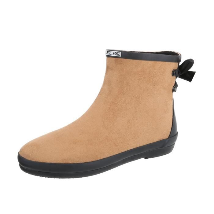 Chaussures femme bottine caoutchouc Bottes marron clair 41