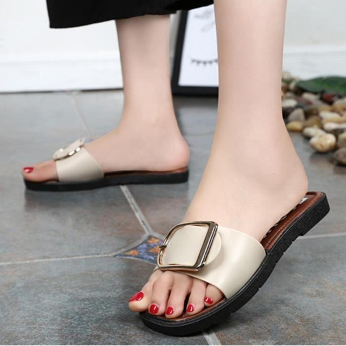 Sandales femmes plates de couleur pure décontractée non-dérapantes de mode de