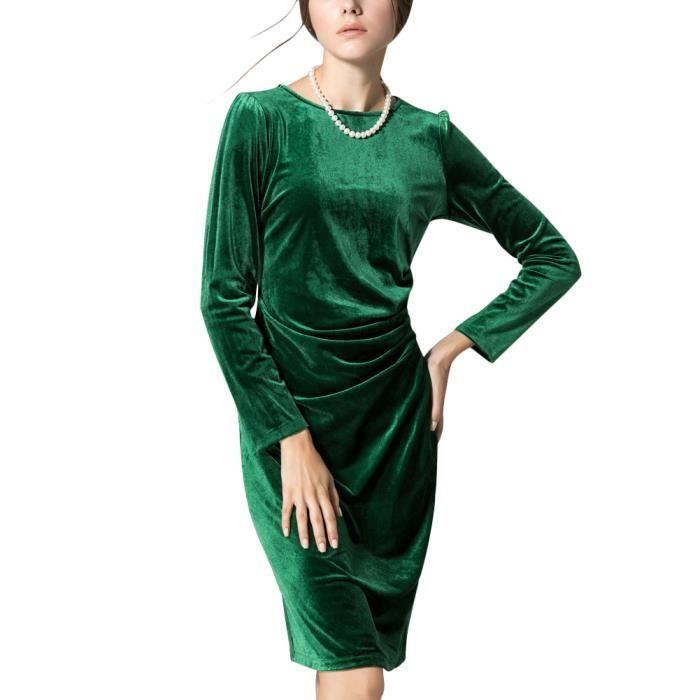 Minetom Femme Printemps Été Vintage Robe à Manche 3-4 Élégant Velours Robe de Soirée Cocktail Au Genou Robes