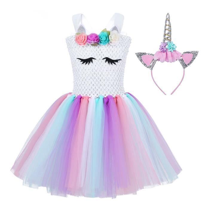 vendu dans le monde entier bonne texture 100% authentique Deguisement robe licorne fille
