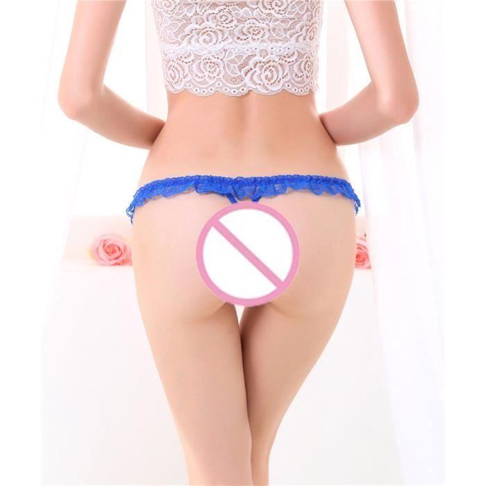 G Sous Anonywe Thongs vêtements En Femmes Sexy Dentelle Cordes Bleu Slip Minces Culotte Super Creux Cqrr5R