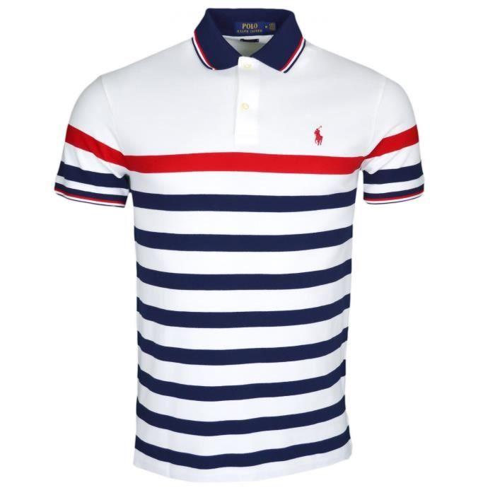 Polo Ralph Lauren blanc à rayures bleu marine et rouge slim fit en piqué pour homme Couleur: Blanc Taille: M