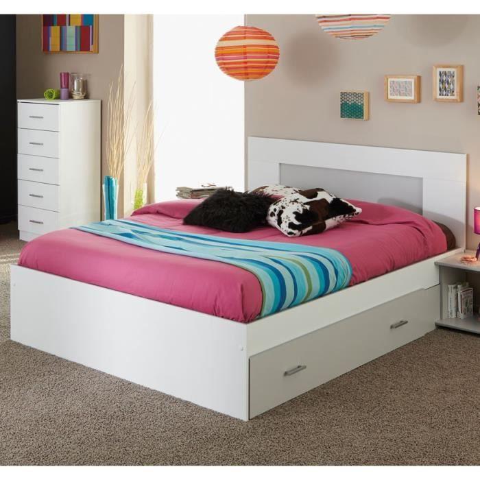 cadre de lit tiroir t te de lit 140 190 blanc seal. Black Bedroom Furniture Sets. Home Design Ideas