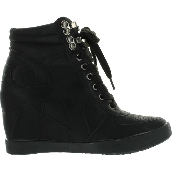 Eric-8 High Top Lace Up Femmes Wedge Sneakers VZZWE Taille-37 1-2