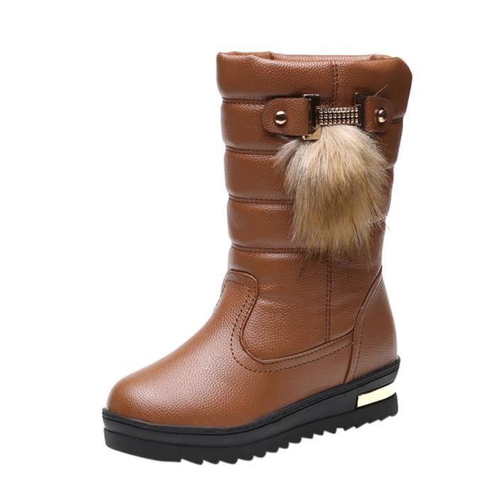 Frankmall®Mode chaudes hiver bottes de neige mi-mollet pour femmes Marron NYZ70928494BW