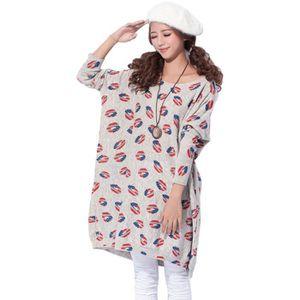 PULL Sweat-shirt Femme Tricot Pull Imprimé Motif Lèvre