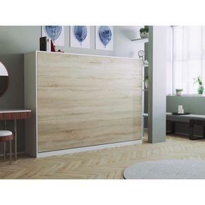 LIT ESCAMOTABLE SMARTBett Basic 140x200 horizontal blanc/chêne son