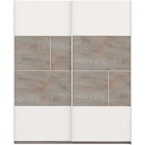 ARMOIRE DE CHAMBRE Armoire 2 portes coulissantes Chêne délavé/Blanc m