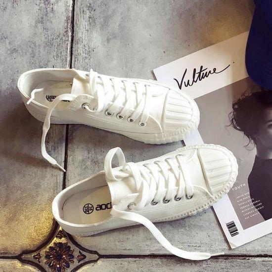 SHELOVEIT® Baskets Plate-forme Lacer Appartement Femmes Blanc Blanc - Achat / Vente basket