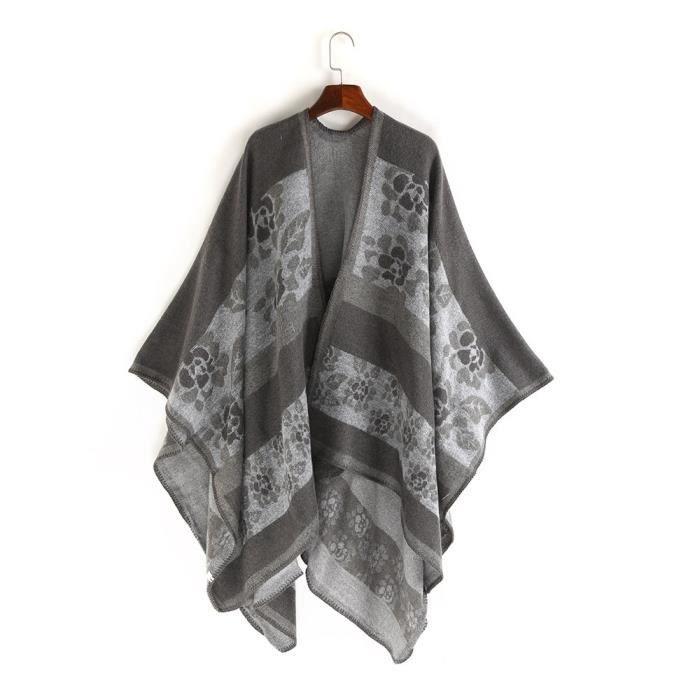 bc301f8b759 Femme floral Patten long châle laine Cachemire écharpe Soft cou gris DP2621
