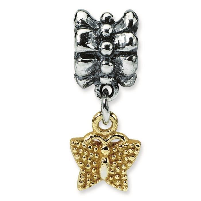 Argent Sterling réflexions 14 carats Papillon Charm perle