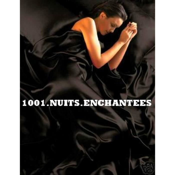 parure de lit satin noir achat vente parure de lit satin noir pas cher cdiscount. Black Bedroom Furniture Sets. Home Design Ideas
