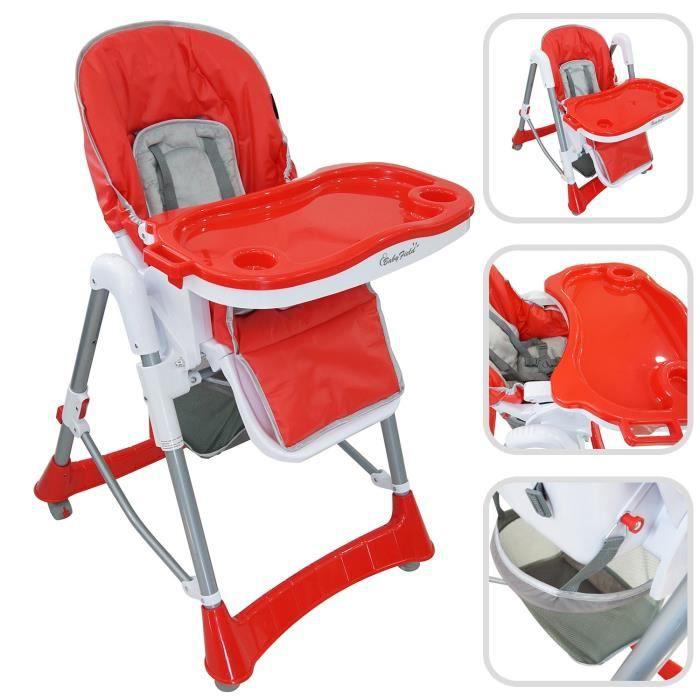 Chaise Haute Pour Bebe Pliante Rouge Taille Deployee 105 X 75 60 Cm