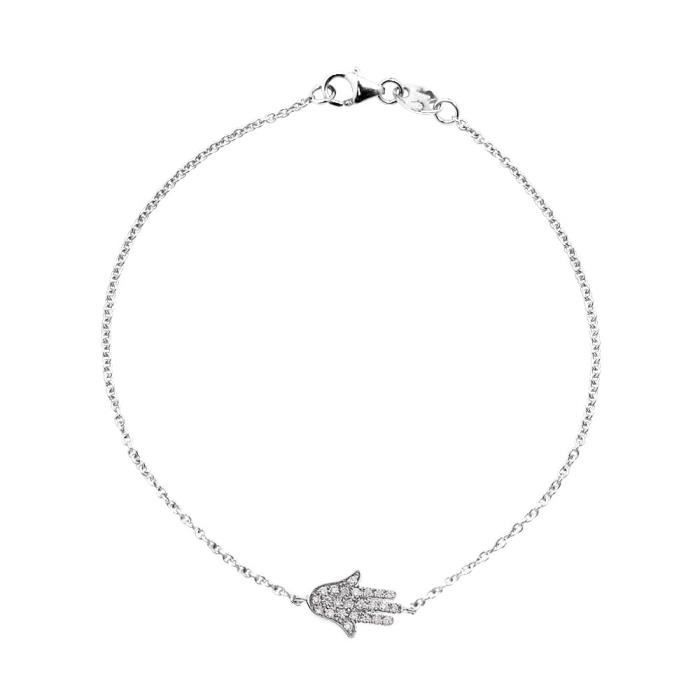 DIAMOND LANE Bracelet Or Blanc 375° et Diamants 0, 15 cts Femme
