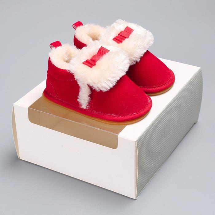 Tout-petits Bow bébé garçons filles en peluche mocassins douce semelle non-dérapant chaud velours neige rouge