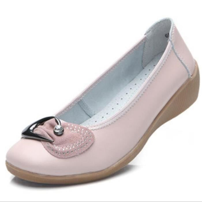 Chaussures Femme Cuir Classique Comfortable Chaussure BWYS-XZ047Rose39 t4Slv9fY