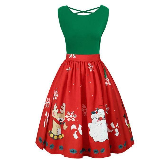 Black Robe Noël Dress De Vintage Criss Cross longue Mi Swing vert Manches Imprimé Femmes Sans Party gvqrgIwxC