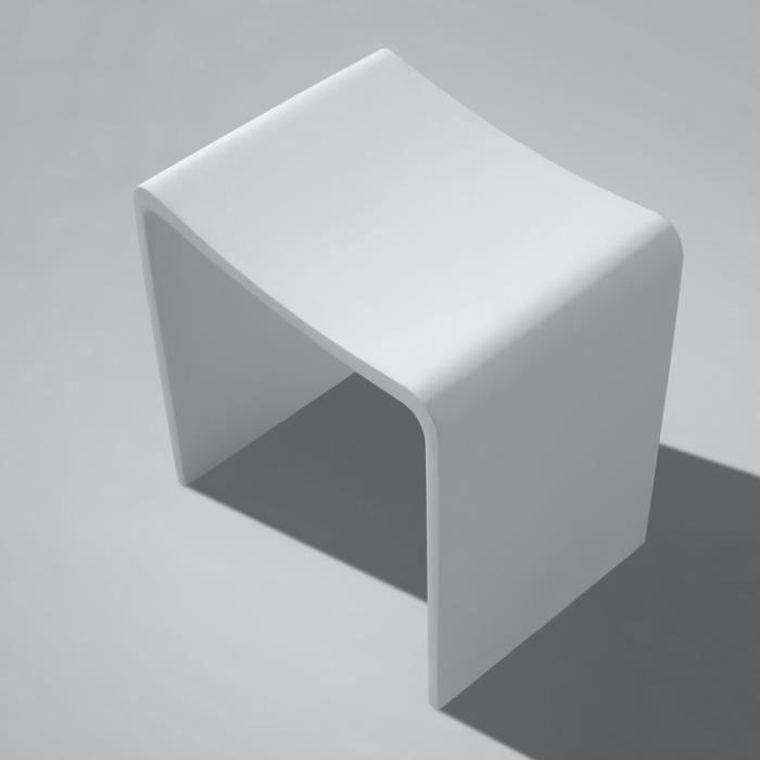 Tabouret de Salle de Bain Blanc Mat, 40x42 cm,Composite, Essential ...