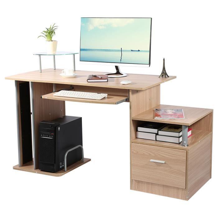 Bureau informatique moderne table d'ordinateur avec étagère de rangement (Noyer)