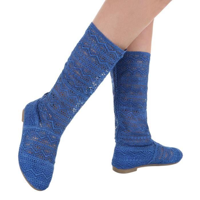 Botte Chaussures Été Foncé orange Escarpin 40 Bleu Dentelle Femme bleu noir bleu Beige HIdqtI