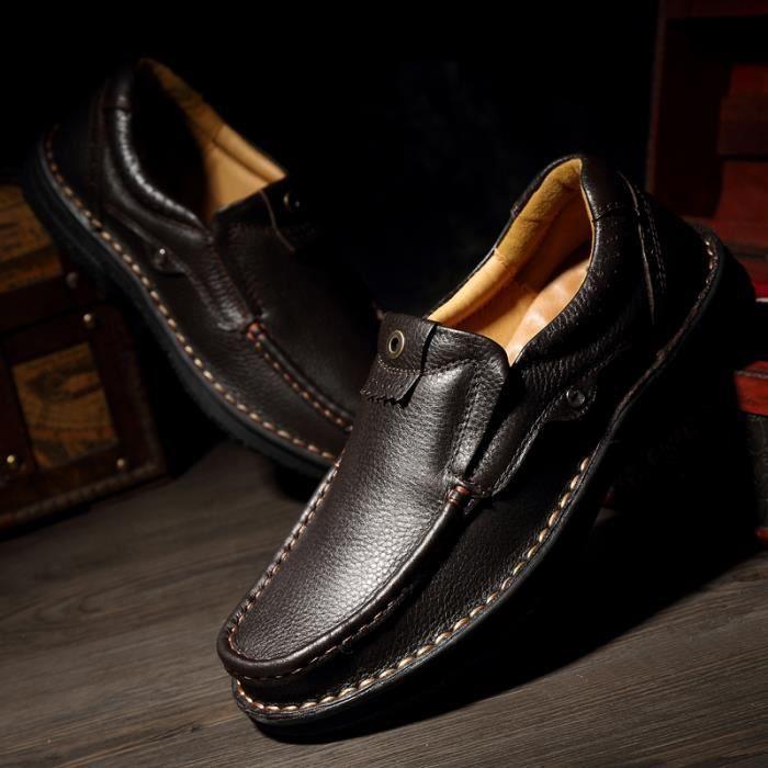 8828-Noir-48 Chaussures Haute Qualité sDe Luxe Cuir Véritable ModeDécontractées L'automne qG8WEqT