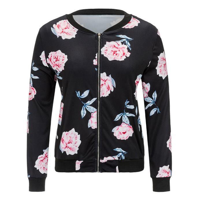 Zipper Casual Femmes Veste Manteau Vintage Noir Chemisier Spentoper Imprimer Blazer Outwear HXqdH5Y